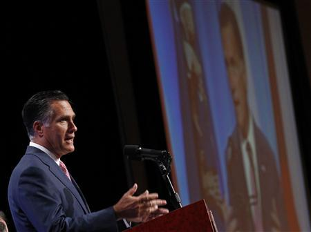 U.S. Republican presidential nominee and former Massachusetts Governor Mitt Romney addresses the National Guard Association's convention in Reno, Nevada September 11, 2012. REUTERS/Jim Young