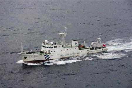 A Chinese patrol ship Haijian 46 sails near the disputed islands in the East China Sea, known as Senkaku in Japan or Diaoyu in China, in this handout file photo taken by the Japan Coast Guard in December 2008. REUTERS/11th Regional Coast Guard Headquarters-Japan Coast Guard/Handout/Files