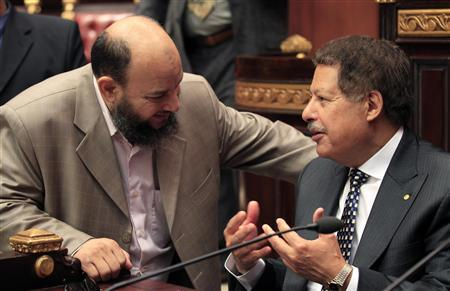U.S.-Egyptian Nobel prize-winning scientist Ahmed Zewail (R) talks to a member of Egypt's constitution committee at the Shura Council in Cairo in this September 11, 2012 file photo. A proposal by ultraconservative Salafis to give Egypt's main Islamic institution the final say on whether the law of the land adheres to Islamic law threatens to bring the already painfully slow process of drafting the new constitution to a grinding halt. REUTERS/Mohamed Abd El Ghany/Files