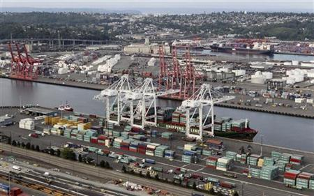 The shipping docks of the deepwater harbor of the Port of Seattle is seen on this aerial view photograph taken from a helicopter in Seattle, August 21, 2012. REUTERS/Anthony Bolante