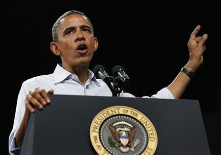 U.S. President Barack Obama speaks at a campaign event at the Palm Beach County Convention Center in Florida September 9, 2012. REUTERS/Larry Downing