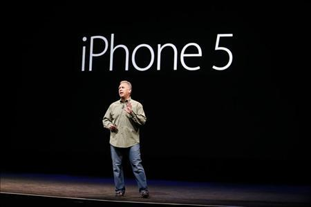 Apple's Senior Vice President of Worldwide Marketing, Phil Schiller, speaks during Apple Inc.'s iPhone 5 media event in San Francisco, California September 12, 2012