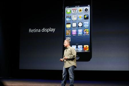 Apple's Senior Vice President of Worldwide Marketing, Phil Schiller, speaks during Apple Inc.'s iPhone 5 media event in San Francisco, California September 12, 2012
