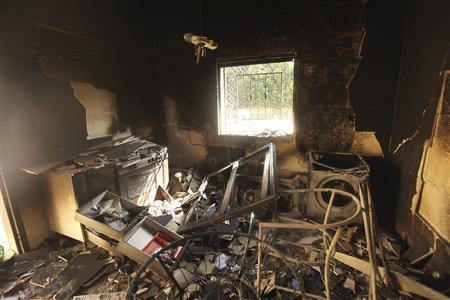 An interior view of the damage at the U.S. consulate, which was attacked and set on fire by gunmen yesterday, in Benghazi September 12, 2012. REUTERS/Esam Al-Fetori