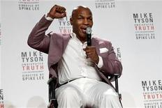 "Former heavyweight champion Mike Tyson gestures as he talks about the Broadway debut of his one-man show ""Mike Tyson: Undisputed Truth"" during a news conference in New York, June 18, 2012. REUTERS/Keith Bedford"