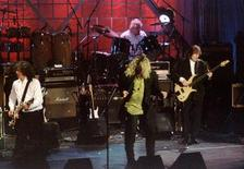 Led Zepplin performs together for the first time in seven years during the 10th introduction ceremonies for the Rock and Roll Hall of Fame in New York in this January 13, 1995 file photo. REUTERS/Mark Cardwell/Files