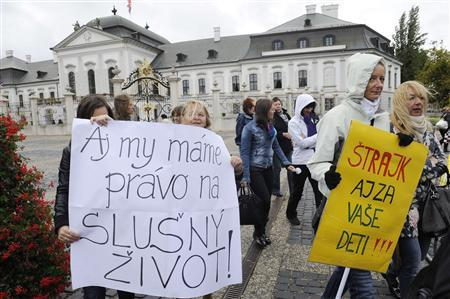 Slovak teachers demand higher pay in biggest walkout in a decade