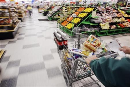 Michael Lipsitz does his grocery shopping at the WalMart in Crossville, Tennessee March 21, 2008. REUTERS/Brian Snyder
