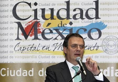 Mexico City Mayor Marcelo Ebrard speaks during a news conference where he launches an application for Blackberry that alerts residents ahead of an earthquake, at his office in Mexico City April 3, 2012. REUTERS/Stringer