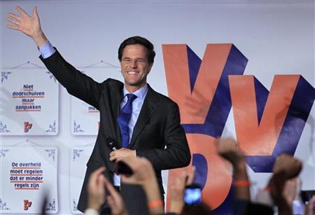 Dutch Prime Minister and Liberal Party (VVD) leader Mark Rutte reacts on stage after the final results in the Netherlands' general election in The Hague September 13, 2012. REUTERS/Yves Herman