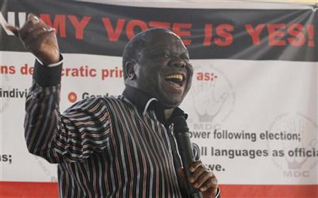 Zimbabwe's Movement for Democratic Change (MDC) leader and Prime Minister Morgan Tsvangirai speaks in support of the country's draft constitution in Harare September 8, 2012. REUTERS/Philimon Bulawayo