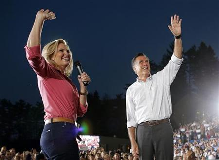 Republican presidential candidate and former Massachusetts Governor Mitt Romney and his wife Ann greet the crowd at a campaign rally in Nashua, New Hampshire September 7, 2012. REUTERS/Brian Snyder