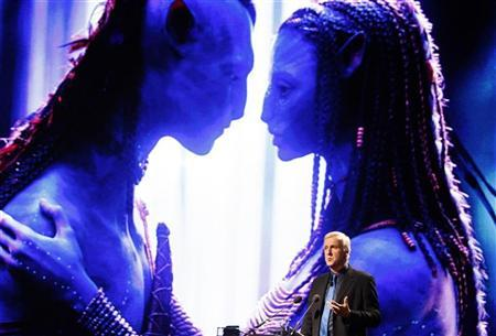 Film director and Lightstorm Entertainment Chairman James Cameron delivers a keynote address titled ''Renaissance now in imagination and technology'' in front of an image of his recent movie ''Avatar'' during the Seoul Digital Forum 2010 May 13, 2010. REUTERS/Jo Yong-Hak
