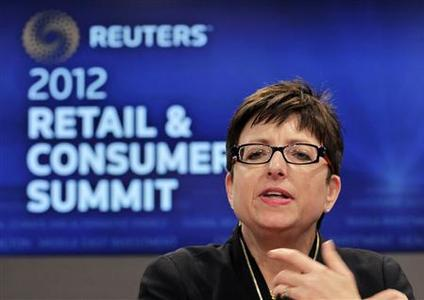 Carol Tome, chief financial officer of Home Depot, speaks at the Reuters Retail and Consumer Summit in New York, September 14, 2012. REUTERS/Brendan McDermid