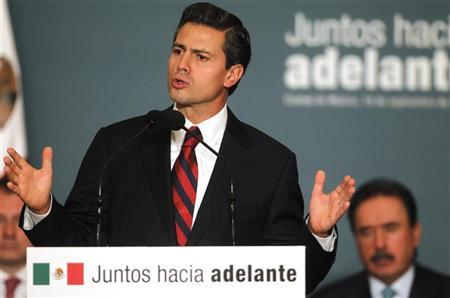 Mexico's President-elect Enrique Pena Nieto speaks during a meeting with legislators of the the Institutional Revolutionary Party (PRI) to present initiatives on anti-corruption laws in Mexico City September 10, 2012. REUTERS/Edgard Garrido
