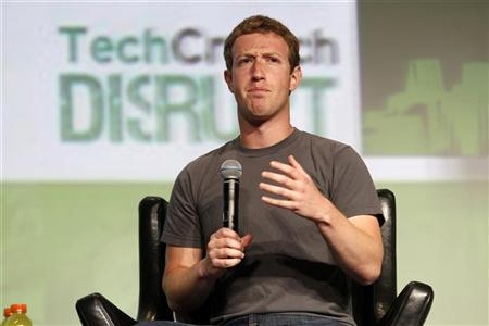 Facebook CEO Mark Zuckerberg speaks during a question and answer session at the TechCrunch Disrupt conference in San Francisco, California, September 11, 2012. REUTERS/Beck Diefenbach