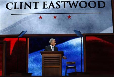 Actor Clint Eastwood addresses an empty chair and questions it as if it were President Barack Obama as he endorses Republican presidential nominee Mitt Romney during the final session of the Republican National Convention in Tampa, Florida, August 30, 2012 REUTERS/Adrees Latif