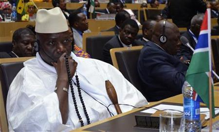 Gambia's President Yahya Jammeh attends the leaders meeting at the African Union (AU) in Addis Ababa July 15, 2012. REUTERS/Tiksa Negeri