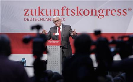 Leader of Germany's Social Democratic Party (SPD) parliamentary faction Frank-Walter Steinmeier delivers a speech during a SPD parliamentary group congress in Berlin, September 15, 2012. The slogan in the background reads: ''Future Congress''. REUTERS/Tobias Schwarz
