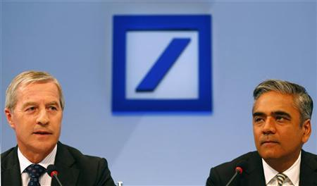 Anshu Jain (R) and Juergen Fitschen, Co-Chairmen of the Management board and the Group Executive Committee of Germany's largest business bank, Deutsche Bank AG address a news conference in Frankfurt, September 11, 2012. REUTERS/Kai Pfaffenbach