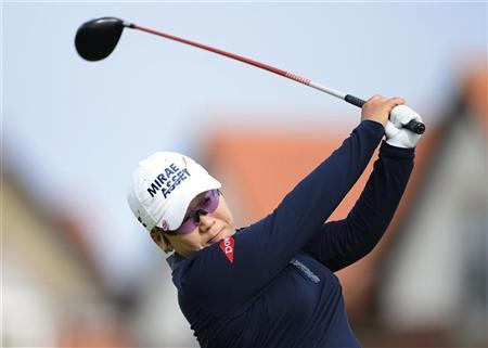 South Korea's Jiyai Shin plays her tee shot on the third hole during the second round of the British Women's Open Golf tournament at Royal Liverpool Golf Club, northern England, September 15, 2012. REUTERS/Nigel Roddis