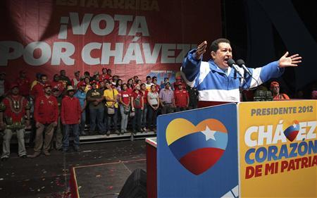 Venezuelan President and presidential candidate Hugo Chavez speaks to supporters during a campaign rally in San Fernando de Apure September 15, 2012. REUTERS/Miraflores Palace/Handout