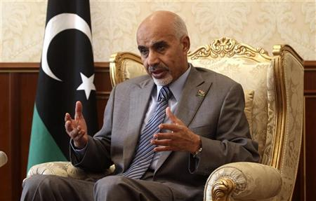 President of the newly-empowered Libyan national assembly, Mohammed Magarief speaks to Reuters, in Tripoli August 11, 2012. REUTERS/Esam Al-Fetori