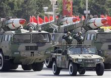 Missiles are displayed in a parade to celebrate the 60th anniversary of the founding of the People's Republic of China in Beijing in this October 1, 2009 file photo. REUTERS/Jason Lee/Files