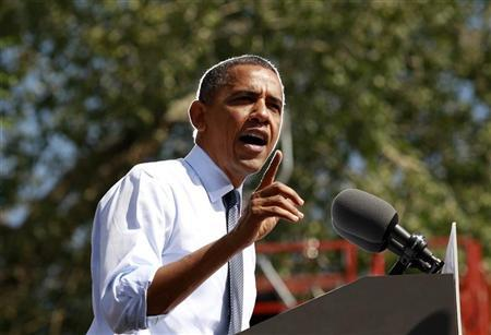 U.S. President Barack Obama speaks during a campaign rally in Golden, Colorado September 13, 2012. REUTERS/Kevin Lamarque