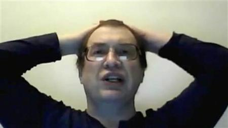 An undated still image of Sergei Mavrodi taken from video footage made in response to Reuters questions to Mavrodi and later posted on the YouTube website. REUTERS/Sergei Mavrodi/YouTube/Handout