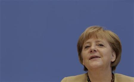 German Chancellor Angela Merkel addresses media during a news conference at Bundespressekonferenz in Berlin, September 17, 2012. REUTERS/Tobias Schwarz