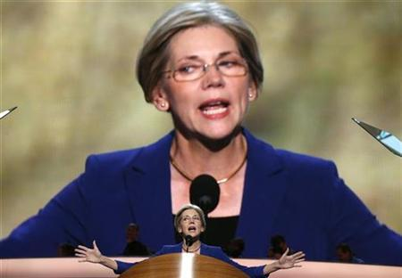 Elizabeth Warren, candidate for the U.S. Senate, Massachusetts, addresses the second session of Democratic National Convention in Charlotte, North Carolina, September 5, 2012. REUTERS/Jim Young