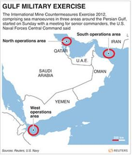 USA-EXERCISES/IRAN - Map of the Middle East locating the areas where an international naval exercise is set to be held.
