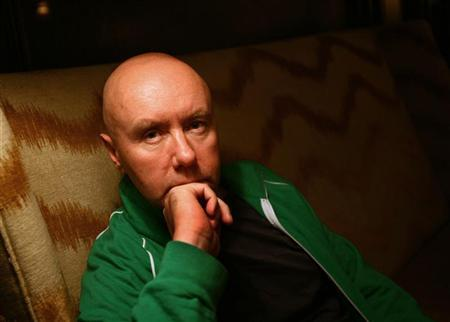 Scottish author Irvine Welsh, best known for the gritty Edinburgh novel ''Trainspotting,'' poses at the Algonquin Hotel in New York, August 14, 2006. REUTERS/Shannon Stapleton