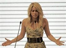 Colombian singer Shakira speaks at the CEO Summit that is part of the Americas Summit in Cartagena April 13, 2012. REUTERS/Jose Miguel Gomez
