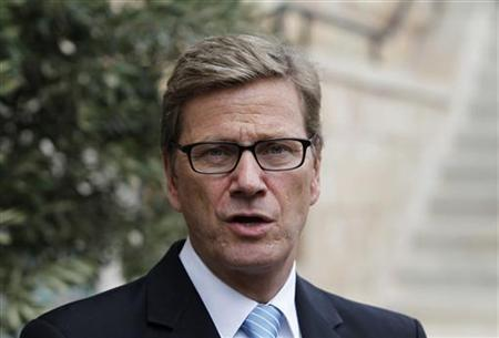 Germany's Foreign Minister Guido Westerwelle speaks to the media after his meeting with Israel's Defence Minister Ehud Barak in Jerusalem September 9, 2012. REUTERS/Baz Ratner