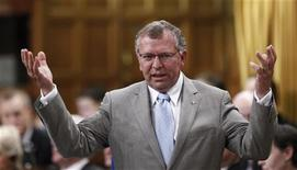 Canada's Minister of State of Finance Ted Menzies speaks during Question Period in the House of Commons on Parliament Hill in Ottawa June 12, 2012. REUTERS/Chris Wattie