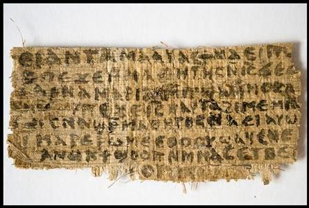 A previously unknown scrap of ancient papyrus written in ancient Egyptian Coptic is pictured in this undated handout photo obtained by Reuters September 18, 2012. The papyrus has four words written in Coptic that provide the first unequivocal evidence that within 150 years of his death, some followers of Jesus, believed him to have been married. REUTERS/Karen L. King/Harvard University/Handout.