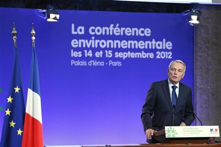 France's Prime Minister Jean-Marc Ayrault delivers a speech at the end of a two-day environmental conference in Paris September 15, 2012. REUTERS/Kenzo Tribouillard/Pool
