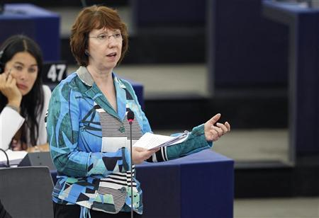 EU foreign policy chief Catherine Ashton addresses the European Parliament in Strasbourg during a debate on the situation in Syria and the political use of justice in Russia, September 11, 2012. REUTERS/Vincent Kessler