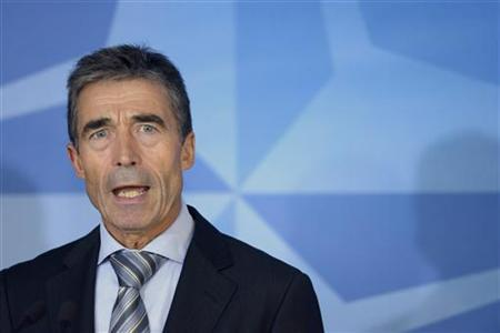 NATO Secretary General Anders Fogh Rasmussen speaks to reporters after a meeting with Albania's President Bujar Nishani in Brussels September 18, 2012. REUTERS/Eric Vidal