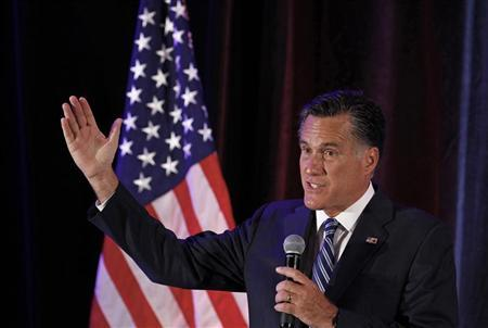 U.S. Republican presidential nominee and former Massachusetts Governor Mitt Romney speaks at campaign fundraiser in Dallas, Texas September 18, 2012. REUTERS/Jim Young