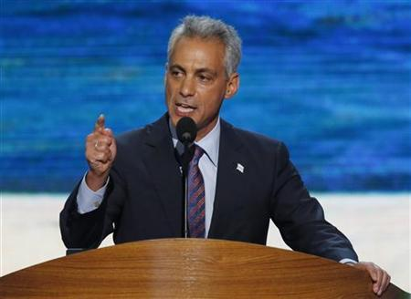 Chicago Mayor Rahm Emanuel addresses delegates during the first session of the Democratic National Convention in Charlotte, North Carolina, September 4, 2012. REUTERS/Jason Reed
