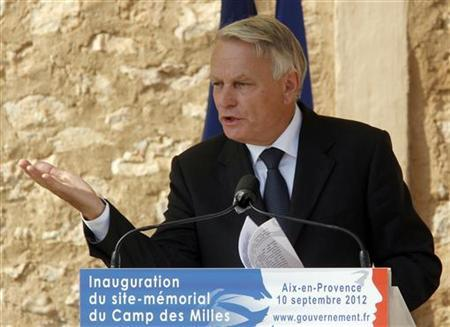 France's Prime Minister Jean-Marc Ayrault delivers a speech in the camp of Les Milles, south eastern France, September 10, 2012. REUTERS/Jean-Paul Pelissier