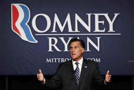 U.S. Republican presidential nominee and former Massachusetts Governor Mitt Romney speaks at a campaign fundraiser in Salt Lake City, Utah September 18, 2012. REUTERS/Jim Young
