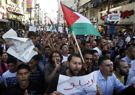 Palestinians hold flags and placards during a protest against the rising cost of living in the West Bank city of Ramallah September 11, 2012. REUTERS/Mohamad Torokman