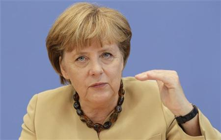 German Chancellor Angela Merkel addresses a news conference at Bundespressekonferenz in Berlin, September 17, 2012. REUTERS/Tobias Schwarz