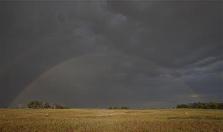 A rainbow develops over one of the dry pools at the Quivira National Wildlife Refuge in Hudson, Kansas August 7, 2012. REUTERS/Jeff Tuttle/Files