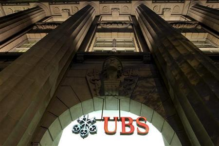 The logo of Swiss bank UBS is seen at the company's office in the Bahnhofstrasse in Zurich August 10, 2012. REUTERS/Arnd Wiegmann