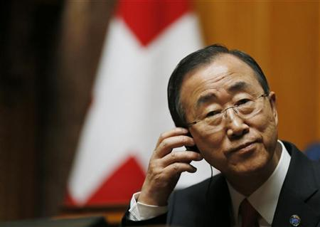 U.N. Secretary-General Ban Ki-moon listens to a speech in the Swiss National Council during his visit in the Autumn Parliament Session in Bern September 11, 2012. REUTERS/Pascal Lauener